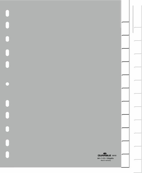 Durable 6410-10 - Leerer Registerindex - Polypropylen (PP) - Grau - Porträt - A4 - 230 mm