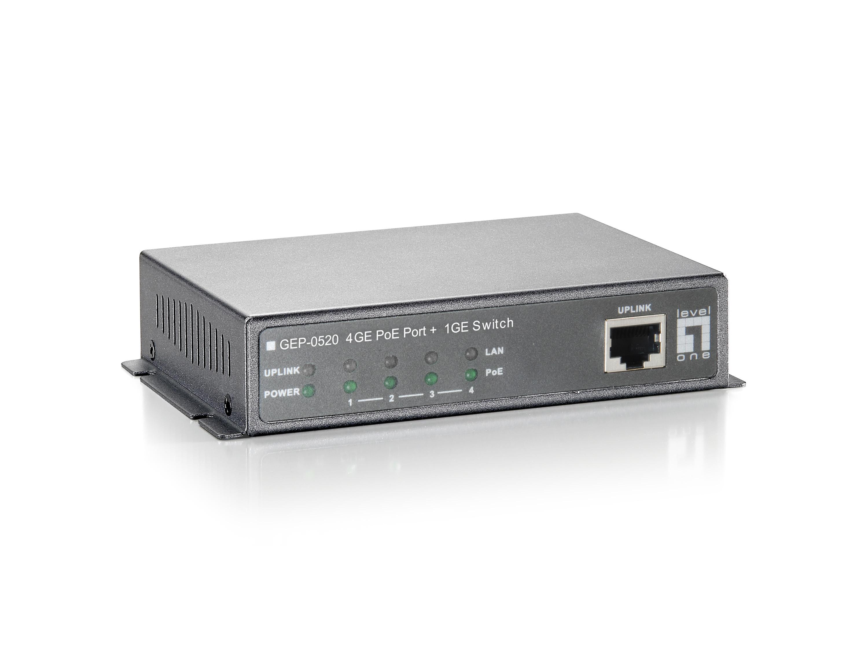 LevelOne 5-Port-Gigabit Ethernet-PoE-Switch - 61.6W - 802.3af PoE - 4 PoE-Ausgängen