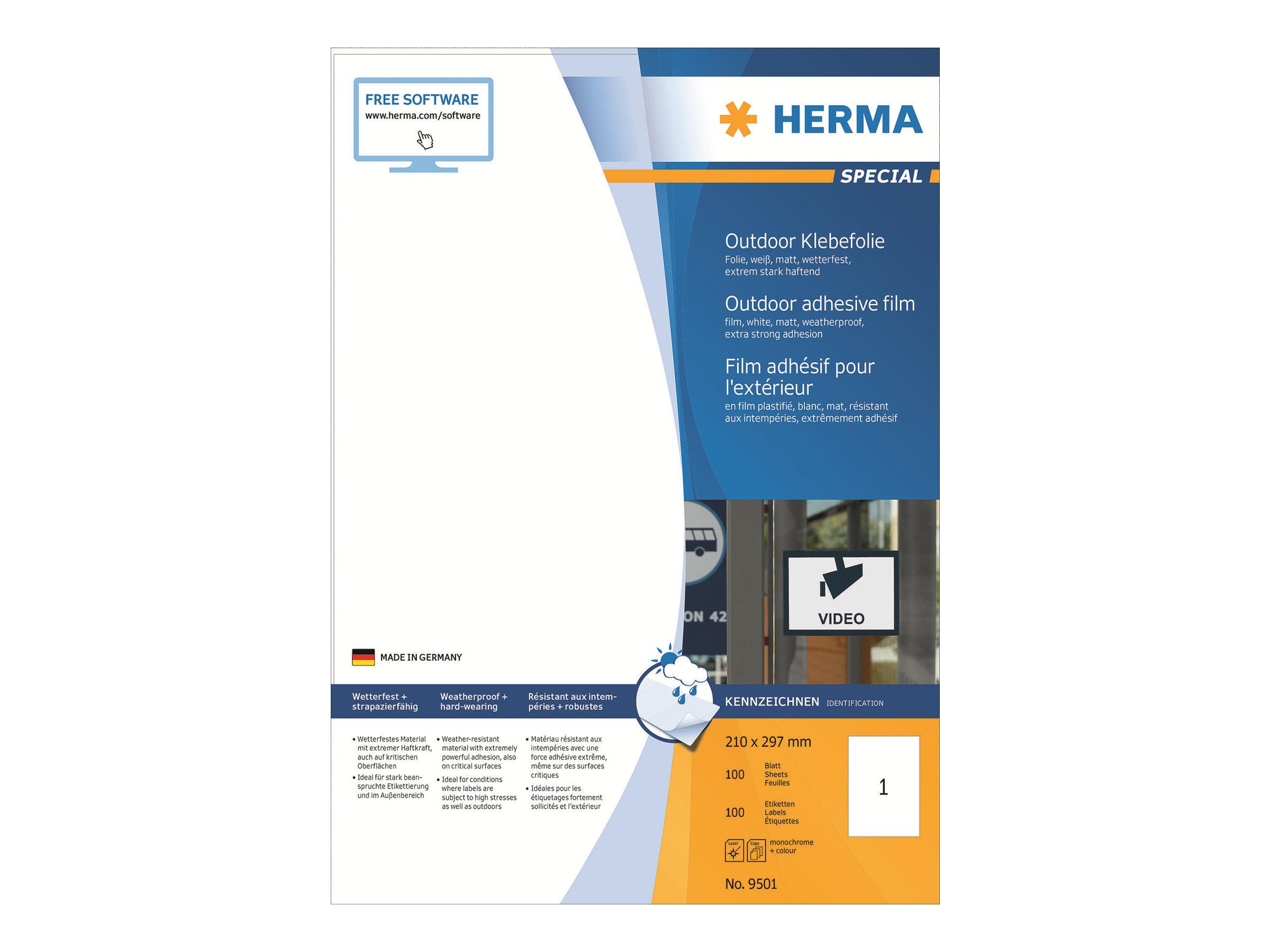 Herma etiketten outdoor klebefolie a4 210mm x 148mm wei for Klebefolie abwaschbar