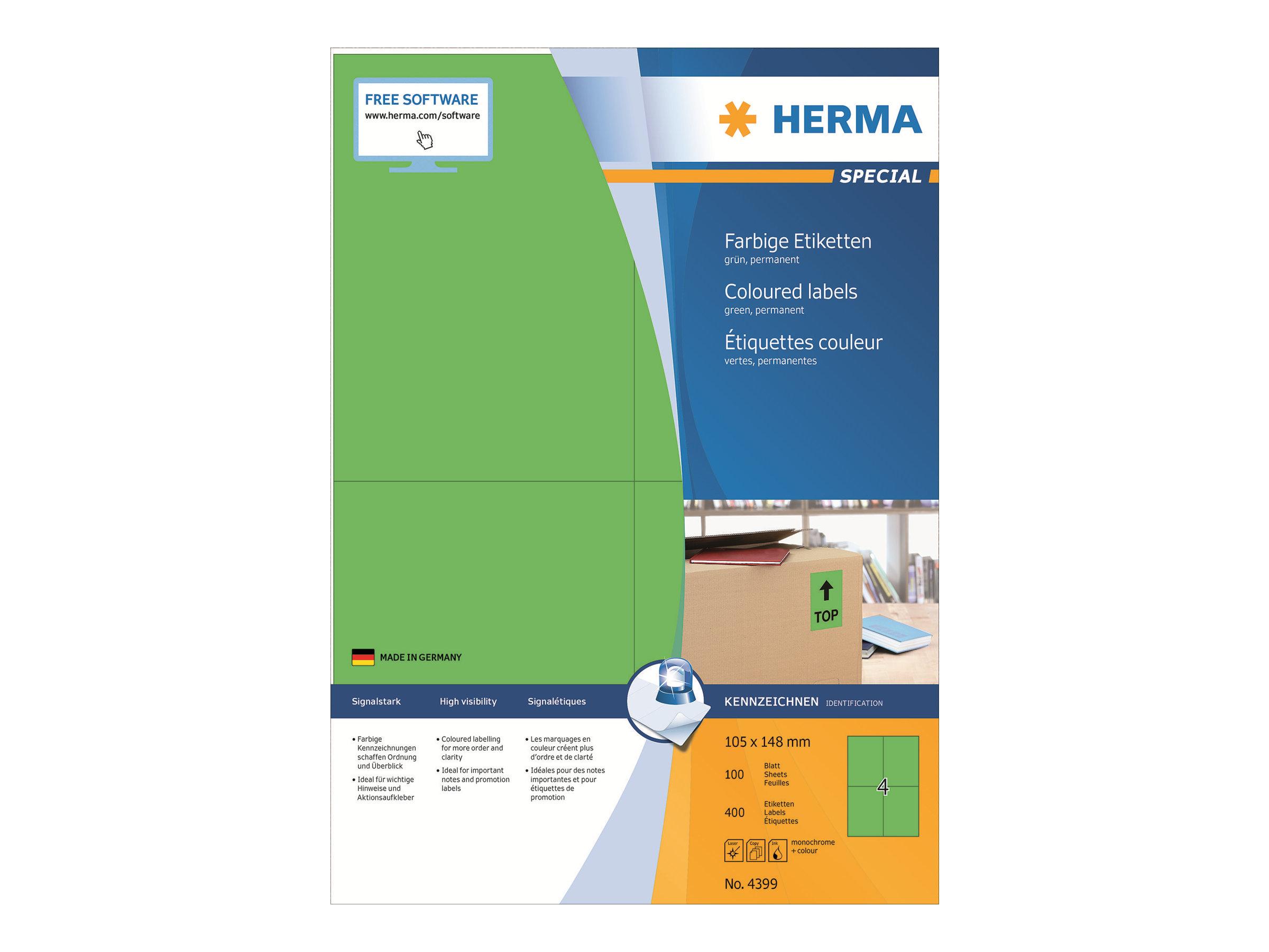 HERMA Special - Papier - matt - permanent selbstklebend - grün - A6 (105 x 148 mm)