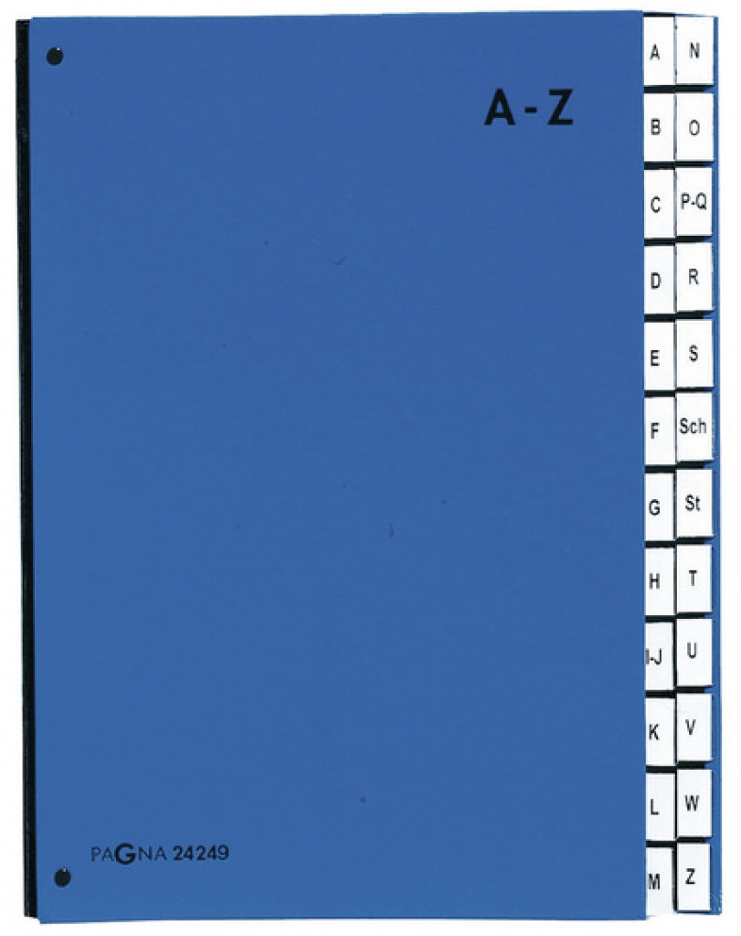 Pagna Pultordner 24 Fächer - A4 - Pappe - Blau - Porträt - 340 mm - 35 mm