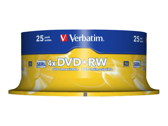 Verbatim 25 x DVD+RW - 4.7 GB 4x - mattsilber