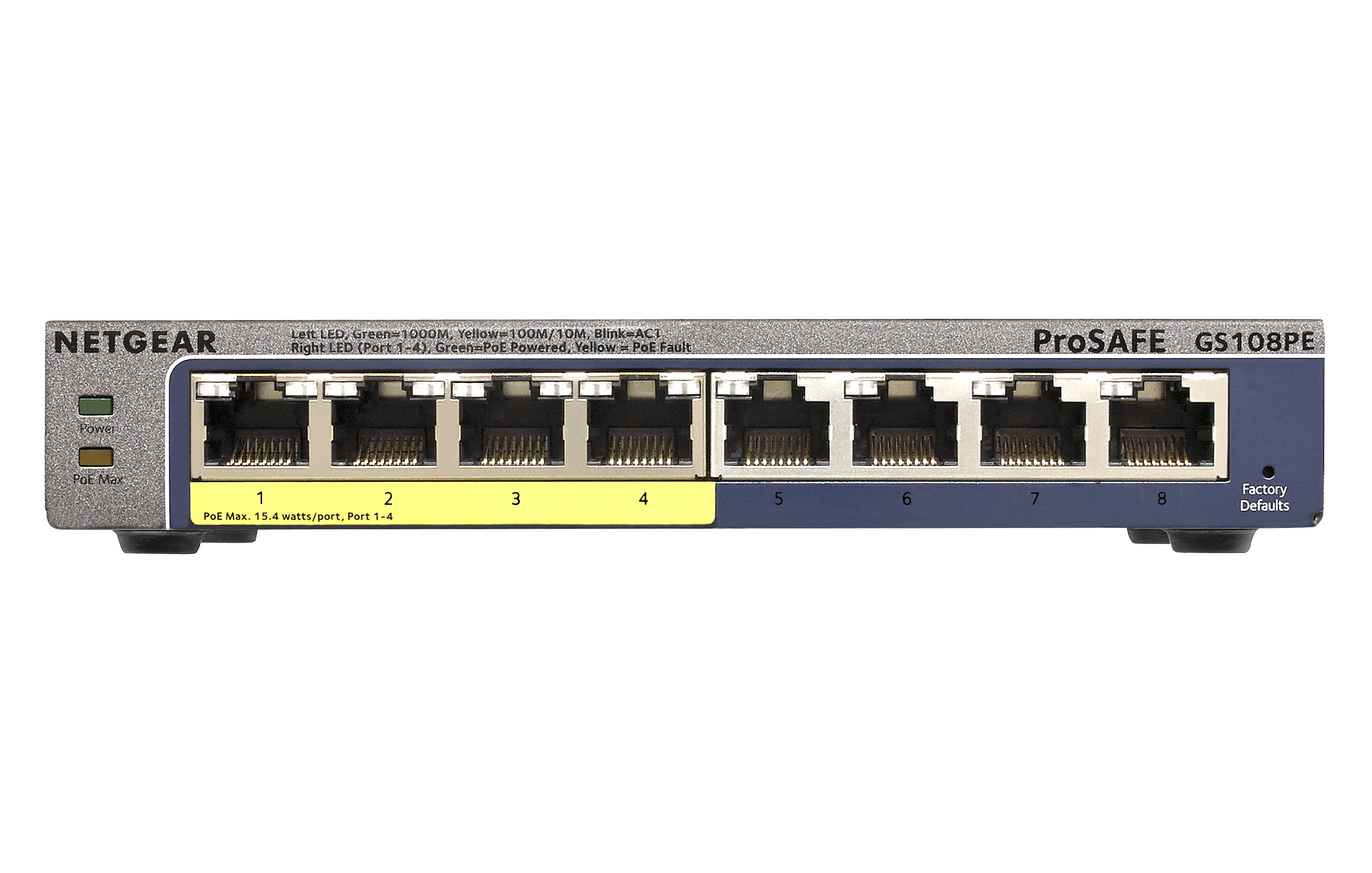 Netgear GS108PE - Managed - Gigabit Ethernet (10/100/1000) - Vollduplex - Power over Ethernet (PoE) - Energy Star-zertifiziert
