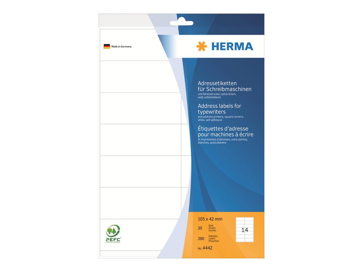 HERMA Weiß - 105 x 42 mm 280 Stck. (20 Bogen x 14) leporellogefaltete, perforierte Endlosadressetiketten