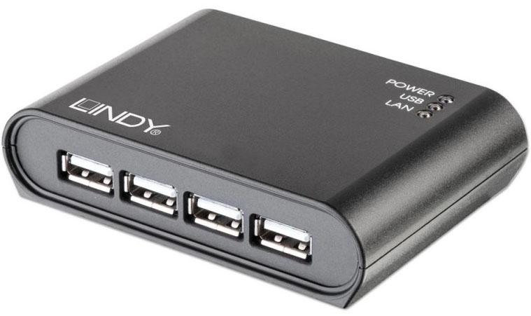 Lindy USB 2.0 Gigabit Network Server - Geräteserver - 4 Anschlüsse