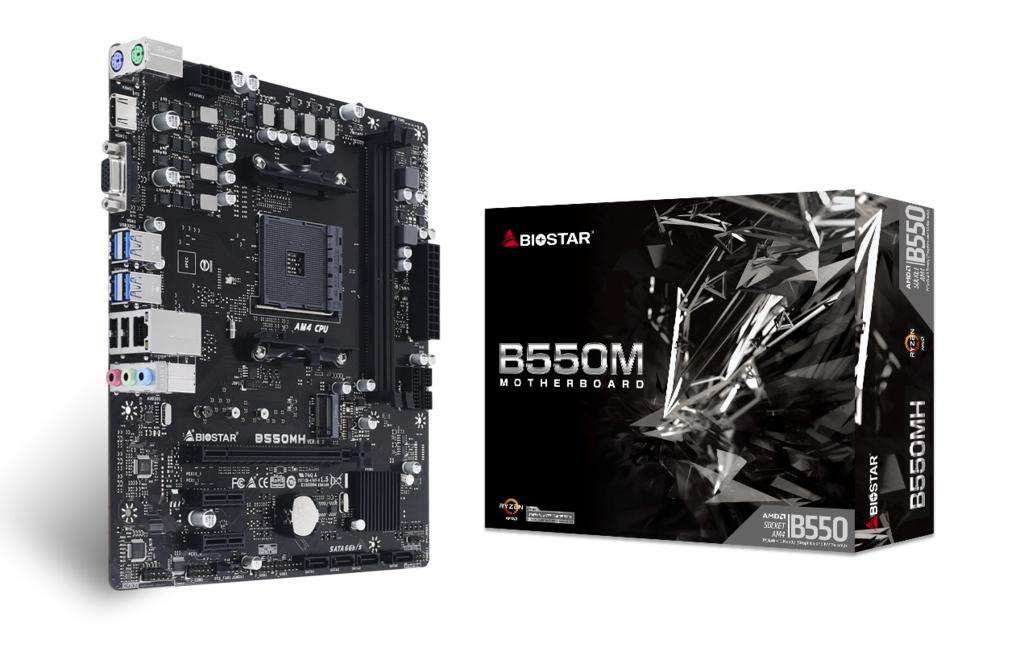 Biostar B550MH Ver. 6.0 - AMD - Socket AM4 - AMD Ryzen 3,AMD Ryzen 5,AMD Ryzen 7 - DDR4-SDRAM - DIMM - 1866,2133,2400,2667,2933,3200,3600,3800,4000,4400,4600,4800,4933 MHz