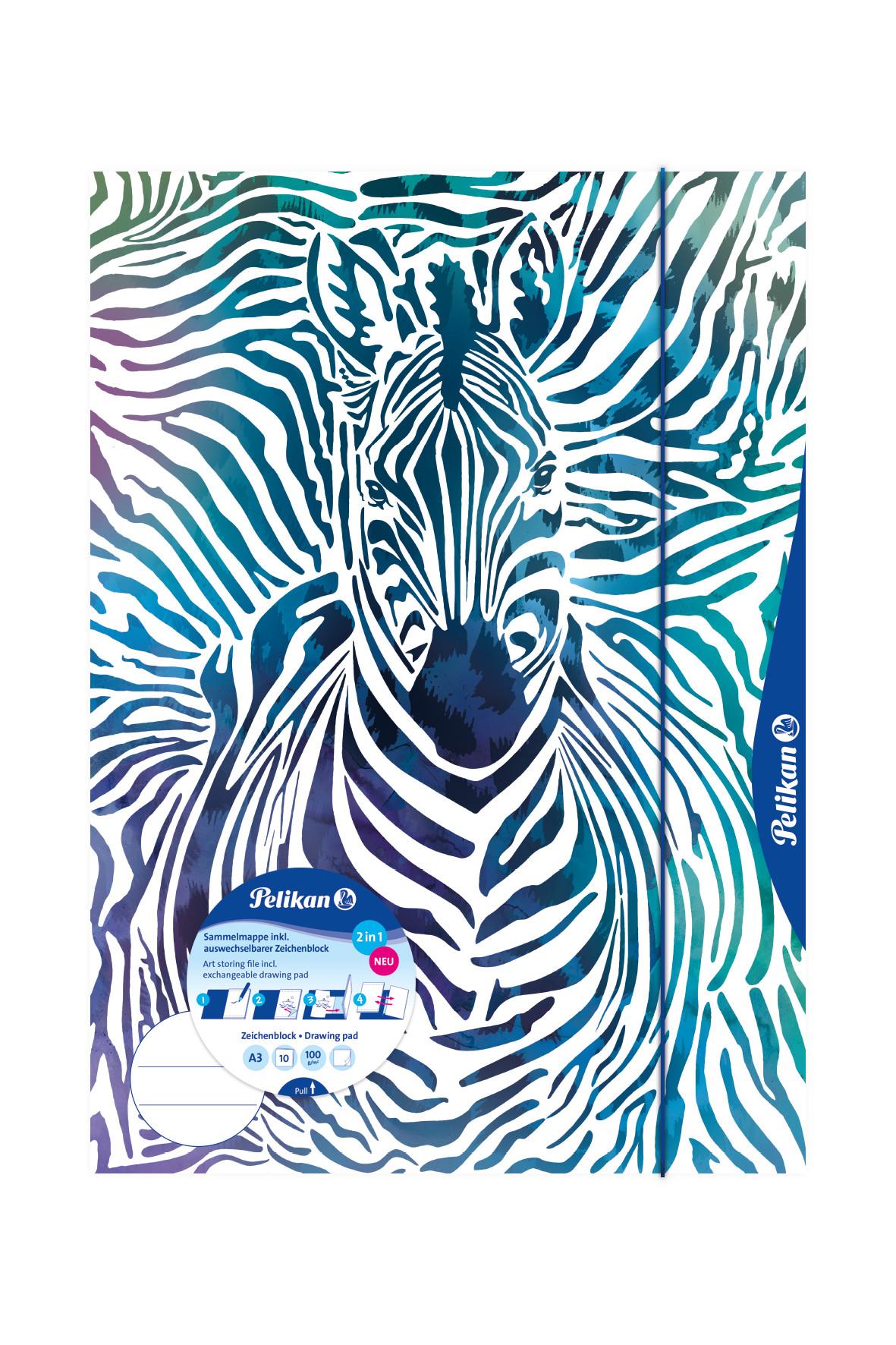 Vorschau: Pelikan 238205 - A3 - Blau - Weiß - Landschaftsportrait - Gummiband