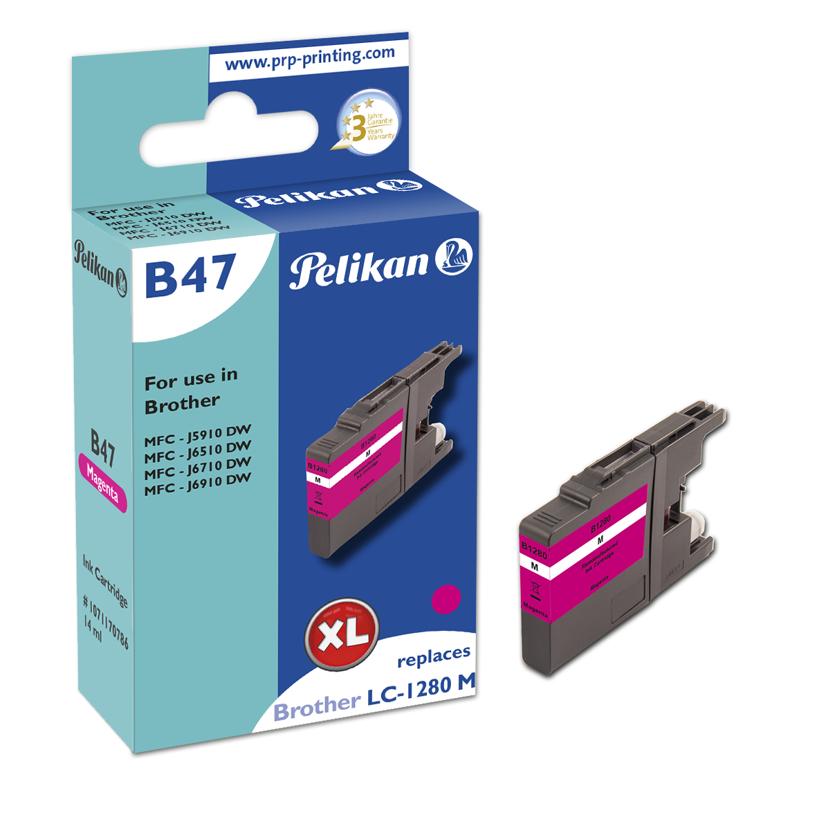 Pelikan B47 Magenta - Box - Tintenpatrone Wiederaufbereitet, Kompatibel - Magenta
