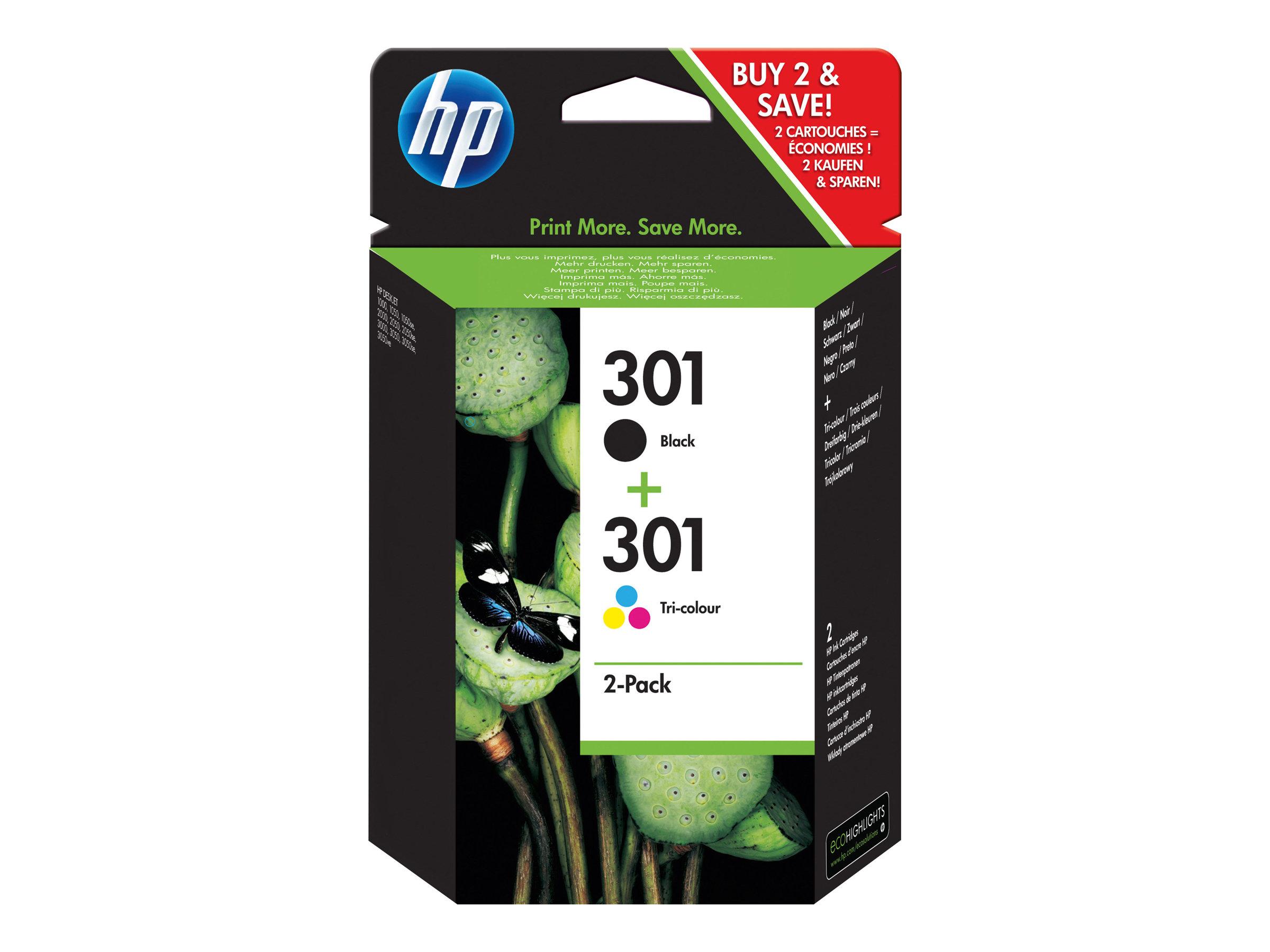 HP Multipack black/cyan/magenta/yellow Nr. 301 (N9J72AE) ca. 190 S. black und 165 S. cym, Doppelpack