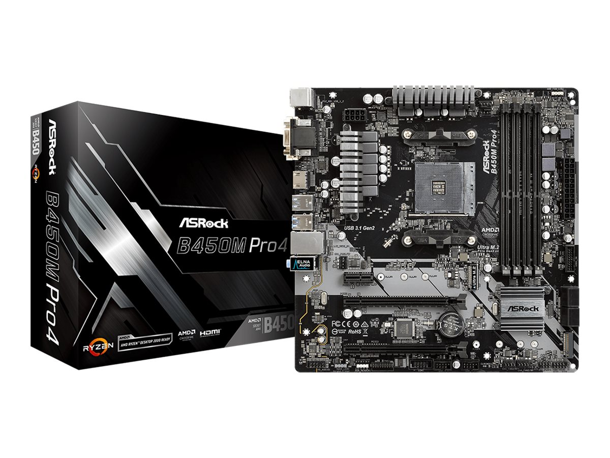 ASRock B450M PRO4 - Motherboard - micro ATX - Socket AM4 - AMD B450 - USB 3.1 Gen 1, USB-C Gen2, USB 3.1 Gen 2 - Gigabit LAN - Onboard-Grafik (CPU erforderlich)