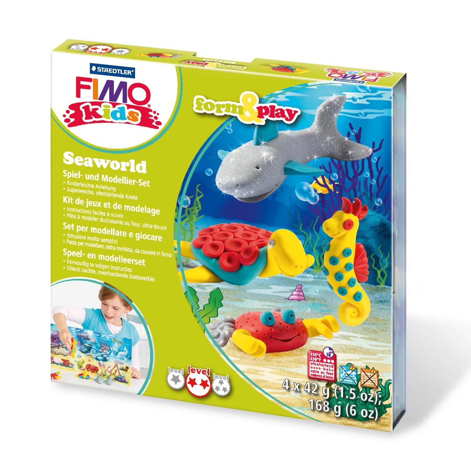 Vorschau: STAEDTLER FIMO kids 8034 - Knetmasse - Grau - Rot - Türkis - Gelb - Kinder - 4 Stück(e) - 4 Farben - 42 g