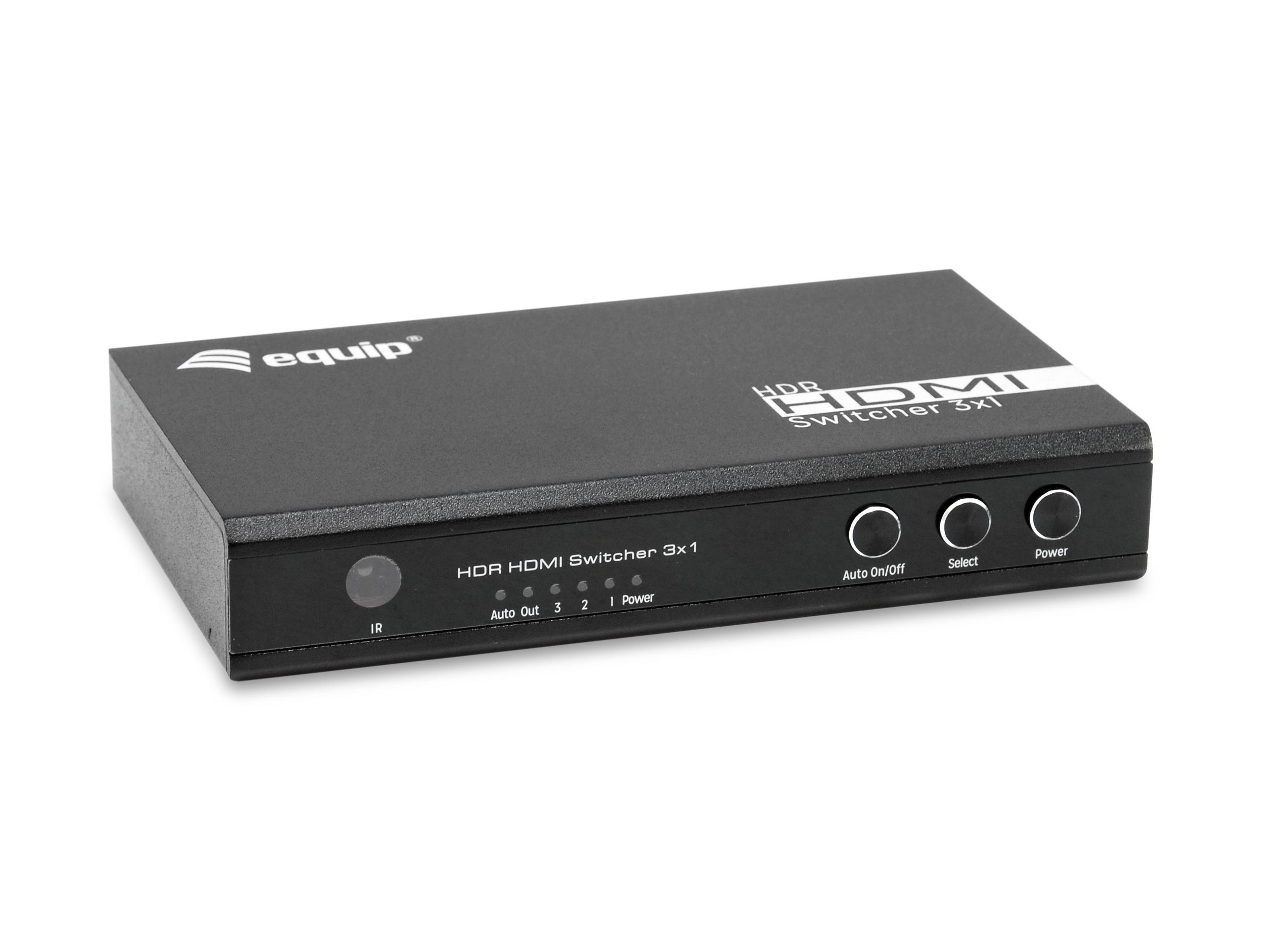 equip Switch 3x1 HDMI 2.0 4K/60Hz schwarz inkl.Fernbedienung - Switch