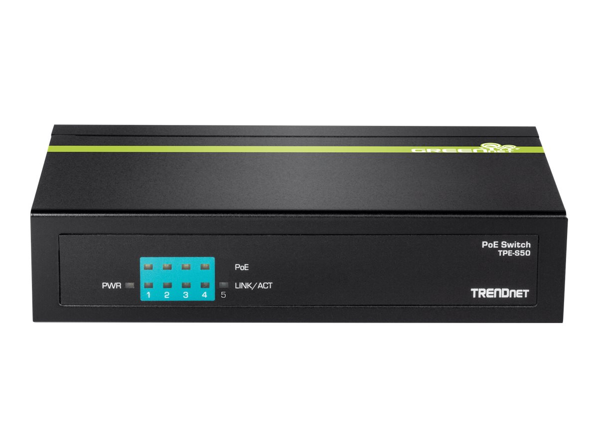 TRENDnet TPE S50 - Switch - unmanaged - 4 x 10/100 (PoE)