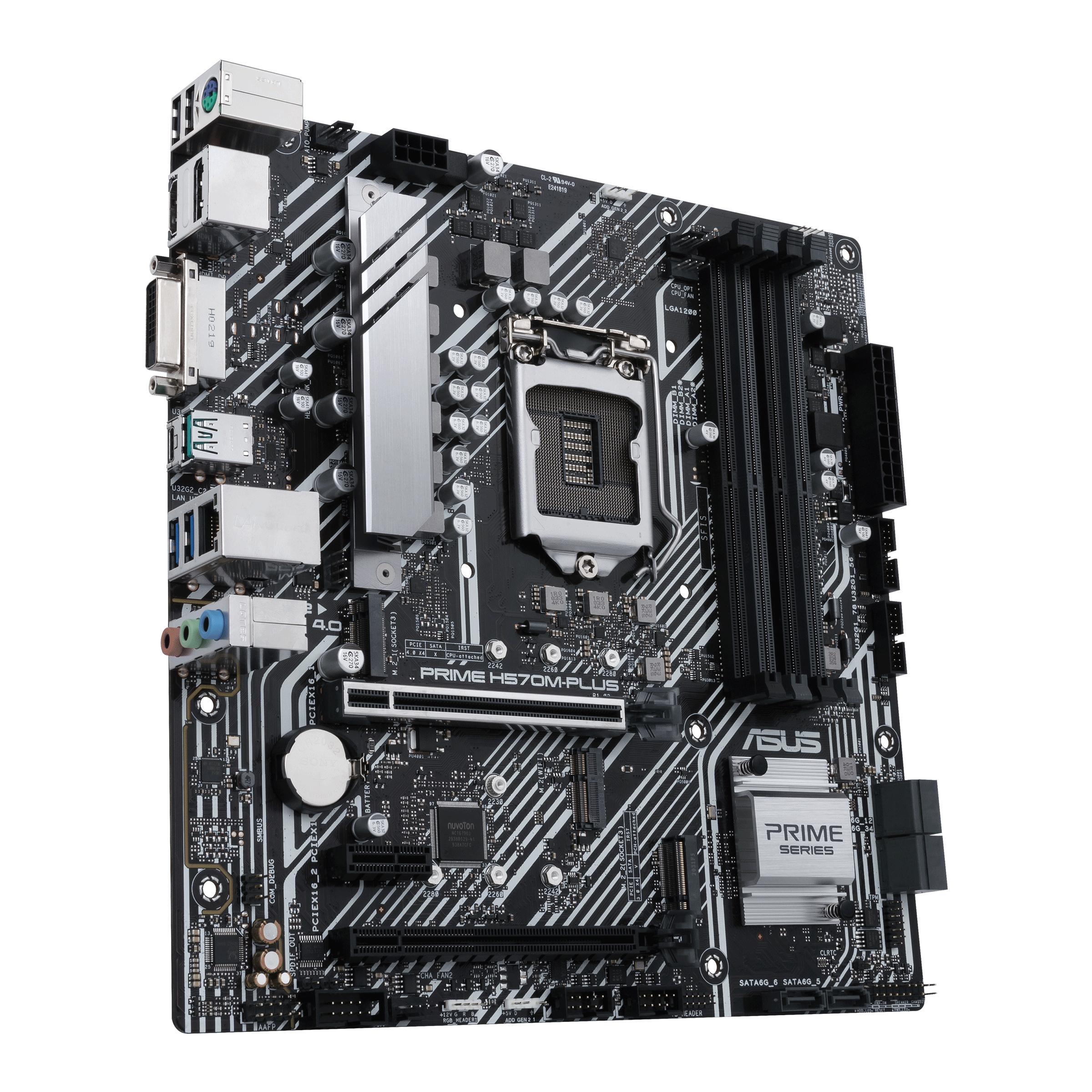 ASUS PRIME H570M-PLUS - Motherboard - micro ATX - LGA1200-Sockel - H570 - USB-C Gen2, USB 3.2 Gen 1, USB 3.2 Gen 2 - Gigabit LAN - Onboard-Grafik (CPU erforderlich)