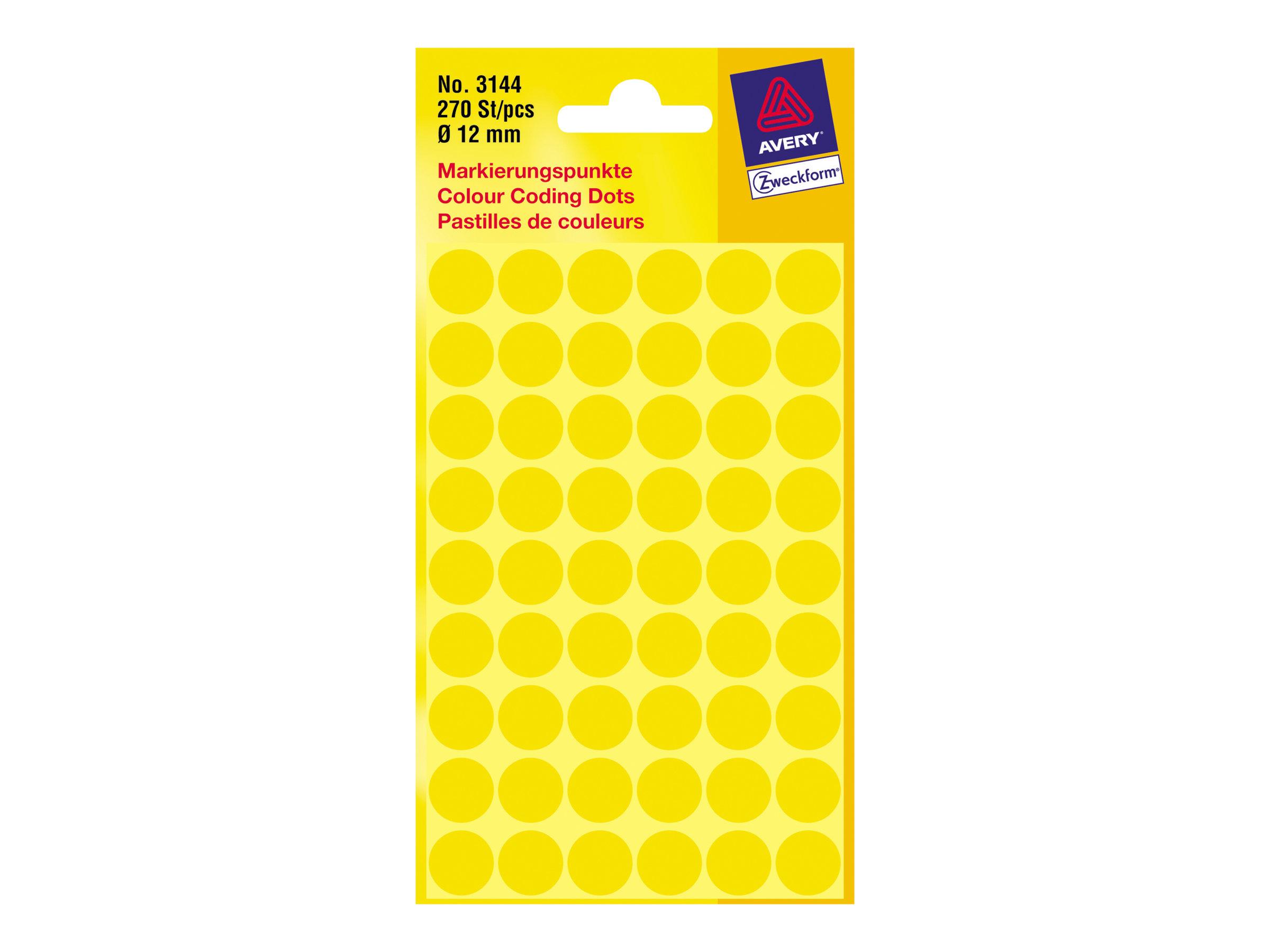 Avery Zweckform Gelb - 12 mm rund 270 Etikett(en) (5 Bogen x 54) runde Etiketten