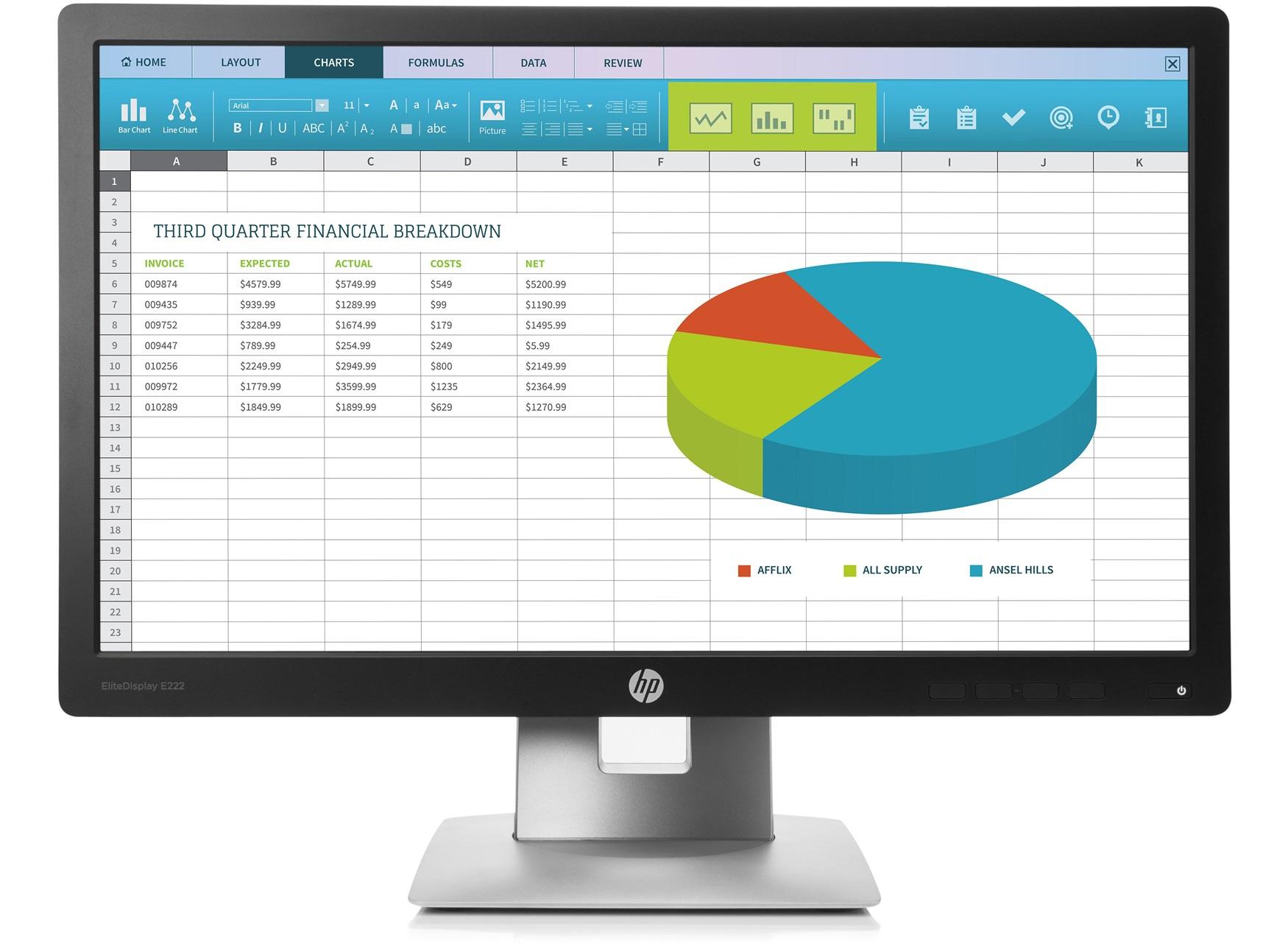 HP EliteDisplay E222 - LED-Monitor - 54.61 cm (21.5)