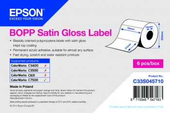 Epson BOPP Satin Gloss 76mm x 51mm - 2770