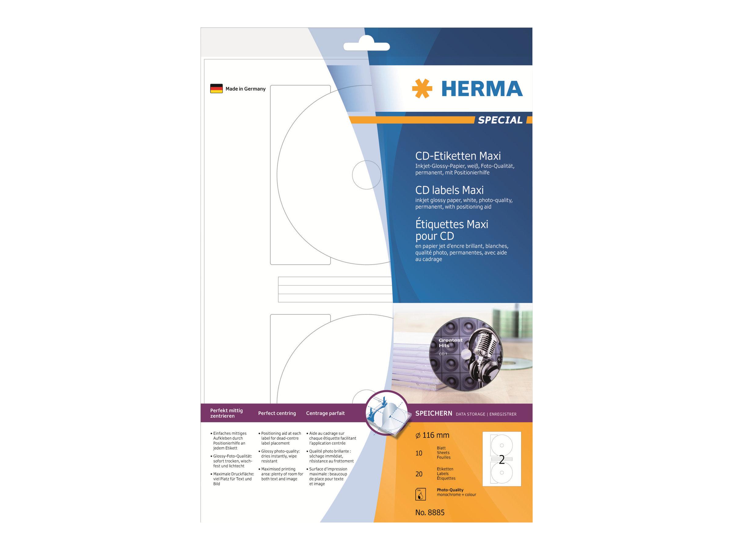 HERMA Special Maxi - Papier - hochglänzend - permanent selbstklebend - weiß - 116 mm rund - 120 g/m² - 20 Etikett(en) (10 Bogen x 2)