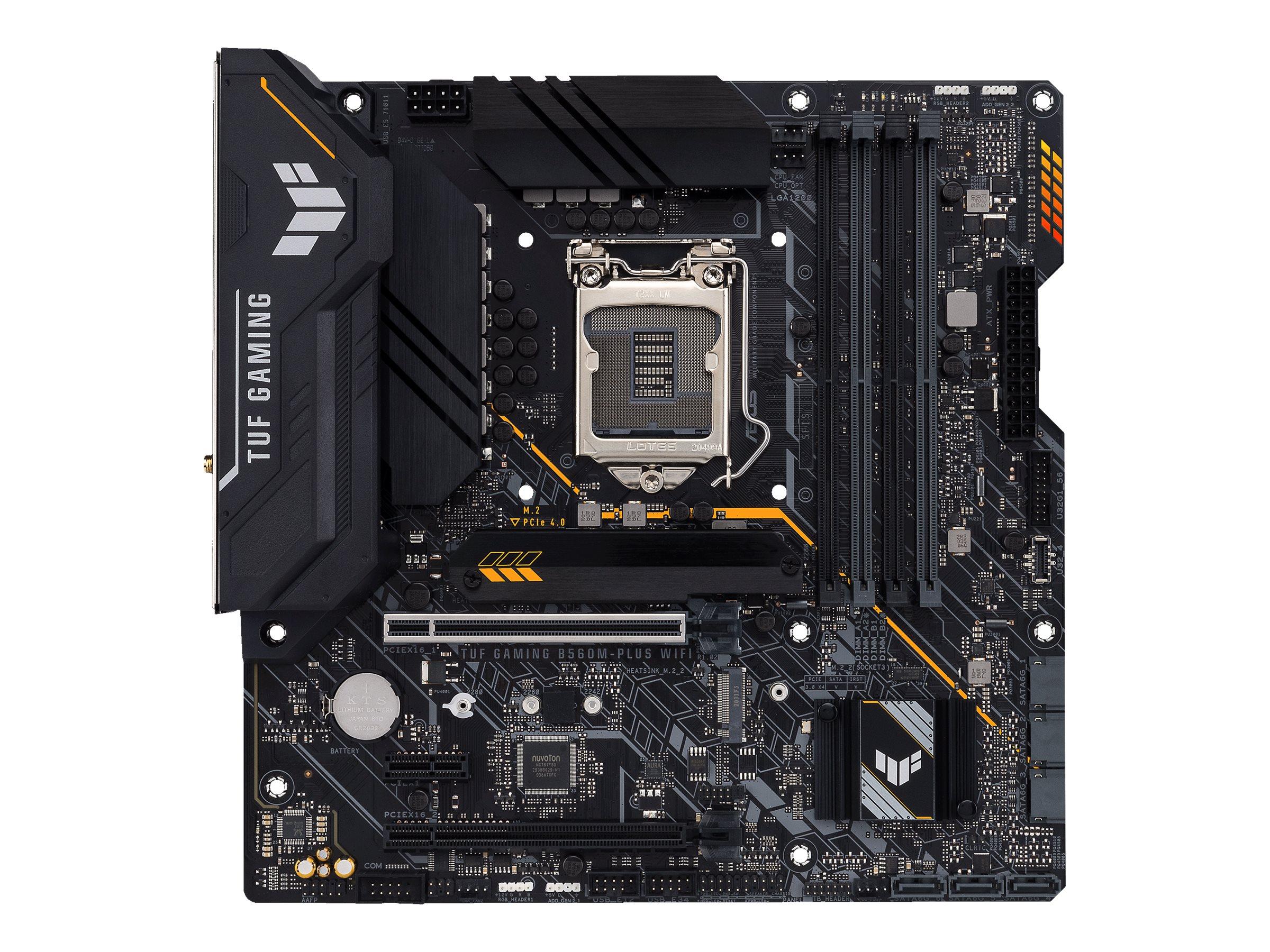 Vorschau: ASUS TUF GAMING B560M-PLUS WIFI - Motherboard - micro ATX - LGA1200-Sockel - B560 - USB-C Gen1, USB 3.2 Gen 1, USB 3.2 Gen 2 - 2.5 Gigabit LAN, Wi-Fi, Bluetooth - Onboard-Grafik (CPU erforderlich)