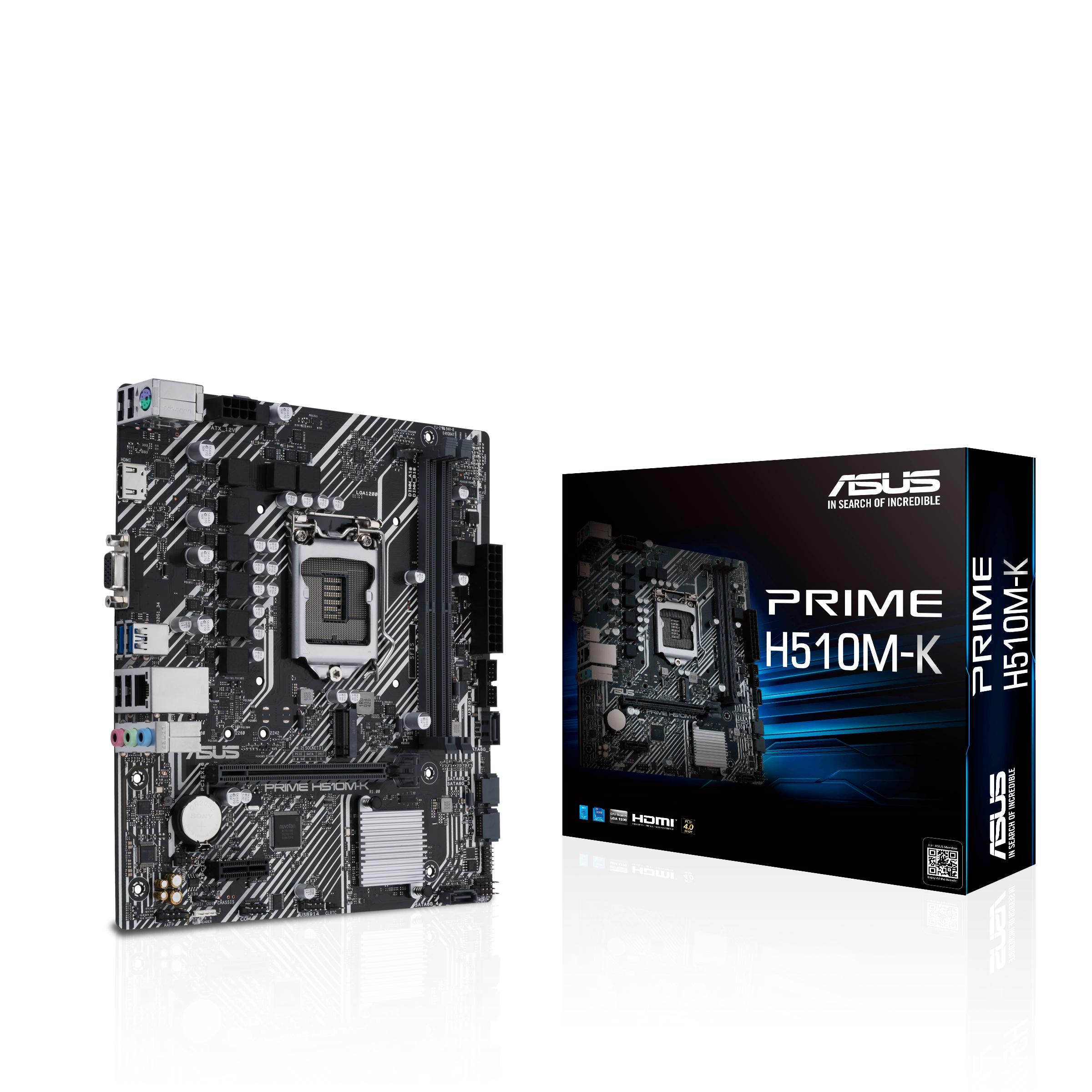 ASUS PRIME H510M-K - Motherboard - micro ATX - LGA1200-Sockel - H510 - USB 3.2 Gen 1 - Gigabit LAN - Onboard-Grafik (CPU erforderlich)