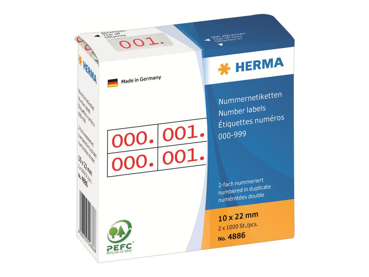 HERMA Rot - 10 x 22 mm 2000 Etikett(en) (1000 Bogen x 2)