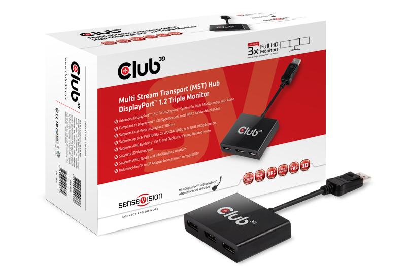 Club 3D Multistreaming Transport Hub - MST Hub - 1 auf 3 DisplayPort, inkl. MiniDP-Adapter