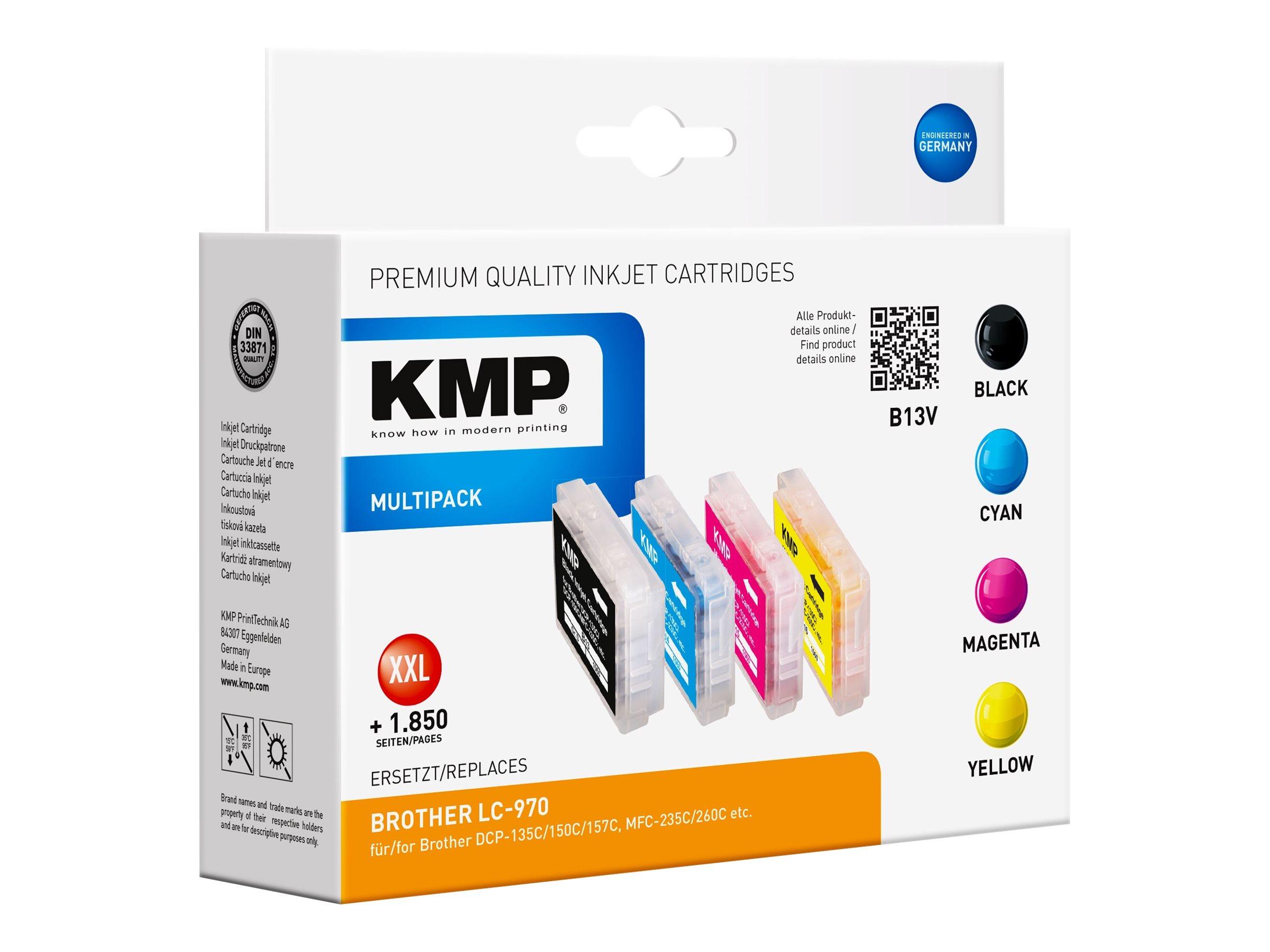 KMP MULTIPACK B13V - 4er-Pack - Größe XXL - Schwarz, Gelb, Cyan, Magenta - Tintenpatrone (Alternative zu: Brother LC970BK, Brother LC970C, Brother LC970M, Brother LC970Y)