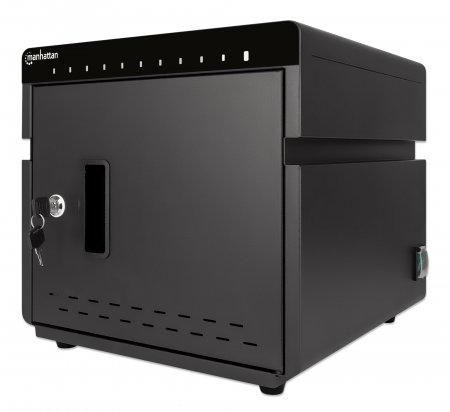 Vorschau: Manhattan 10-Port Ladeschrank 180 W - 10 USB-C PD-Ports - geräumige Fächer für Handys und Tablets - 180 W gesamt - bis zu 3 A/18 W pro Port - abschließbar - Überspannungsschutz - leiser Lüfter - Metallgehäuse - schwarz - Schrank zur Verwaltung tragbarer Geräte - Sc