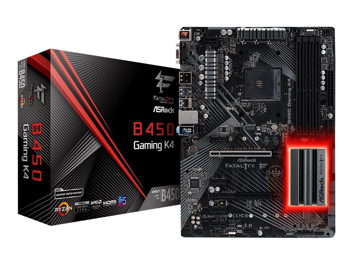 ASRock Fatal1ty B450 Gaming K4 - Motherboard - ATX - Socket AM4 - AMD B450 - USB 3.1 Gen 1, USB-C Gen2, USB 3.1 Gen 2 - Gigabit LAN - Onboard-Grafik (CPU erforderlich)