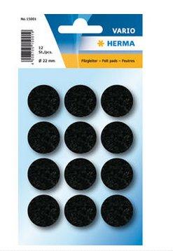 HERMA 15001 - Filzgleiter - selbstklebend - schwarz - 12 Stück