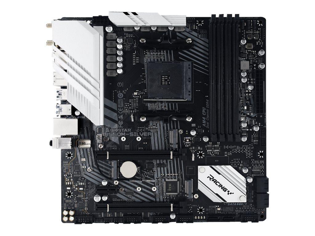 Biostar B550M-SILVER - Motherboard - micro ATX - Socket AM4 - AMD B550 - USB-C Gen2, USB 3.2 Gen 2 - 2.5 Gigabit LAN - Onboard-Grafik (CPU erforderlich)