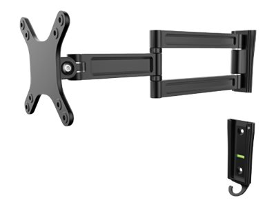 "Manhattan TV & Monitor Mount, Wall, Full Motion, 1 screen, Screen Sizes: 13-27"", Black, VESA 75x75 to 100x100mm, Max 15kg, Tilt & Swivel with 3 Pivots, Lifetime Warranty - Klammer - für LCD-Display - Schwarz - Bildschirmgröße: 33-68.6 cm (13""-27"")"