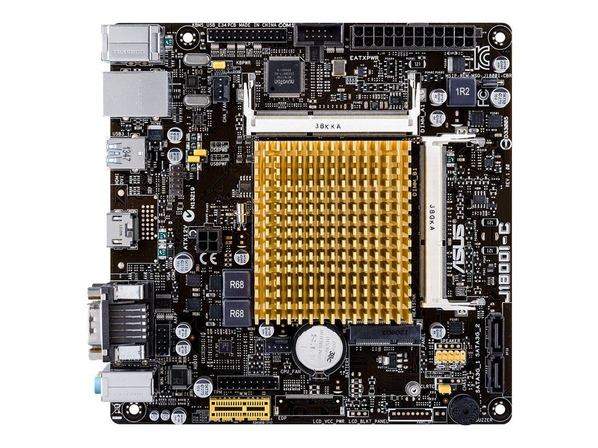 ASUS J1800I-C - Motherboard - Mini-ITX - Intel Celeron J1800 - USB 3.0 - Gigabit LAN - Onboard-Grafik - HD Audio (8-Kanal)