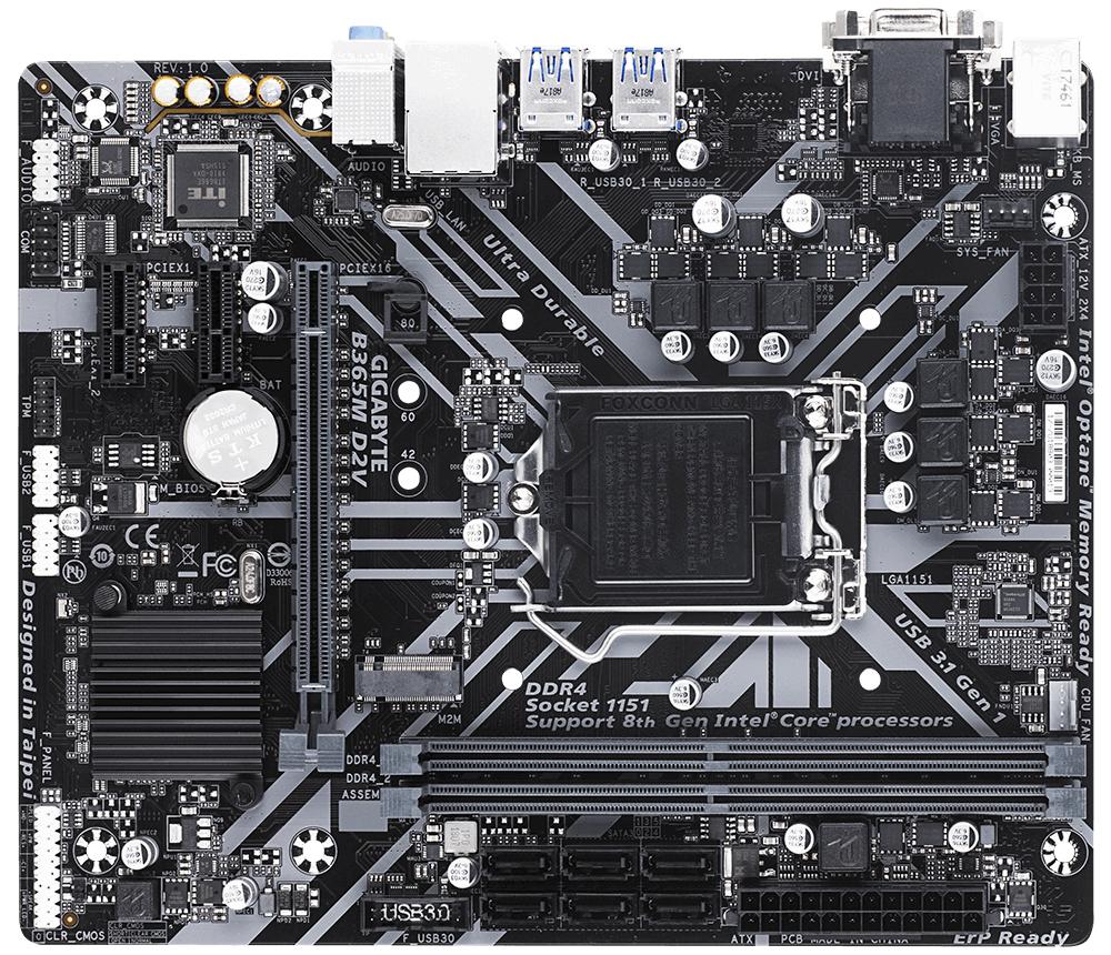 Gigabyte B365M D2V - Intel - LGA 1151 (Socket H4) - Intel® Core™ i3 - Intel Core i5 - Intel Core i7 - Intel Core i9 - LGA 1151 (Socket H4) - DDR4-SDRAM - DIMM
