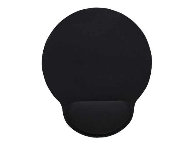 IC Intracom Manhattan Wrist-Rest Gel Mouse Mat/Pad, 241 x 203 x 40 mm, non slip base, Black, Lifetime Warranty, Card Retail Packaging