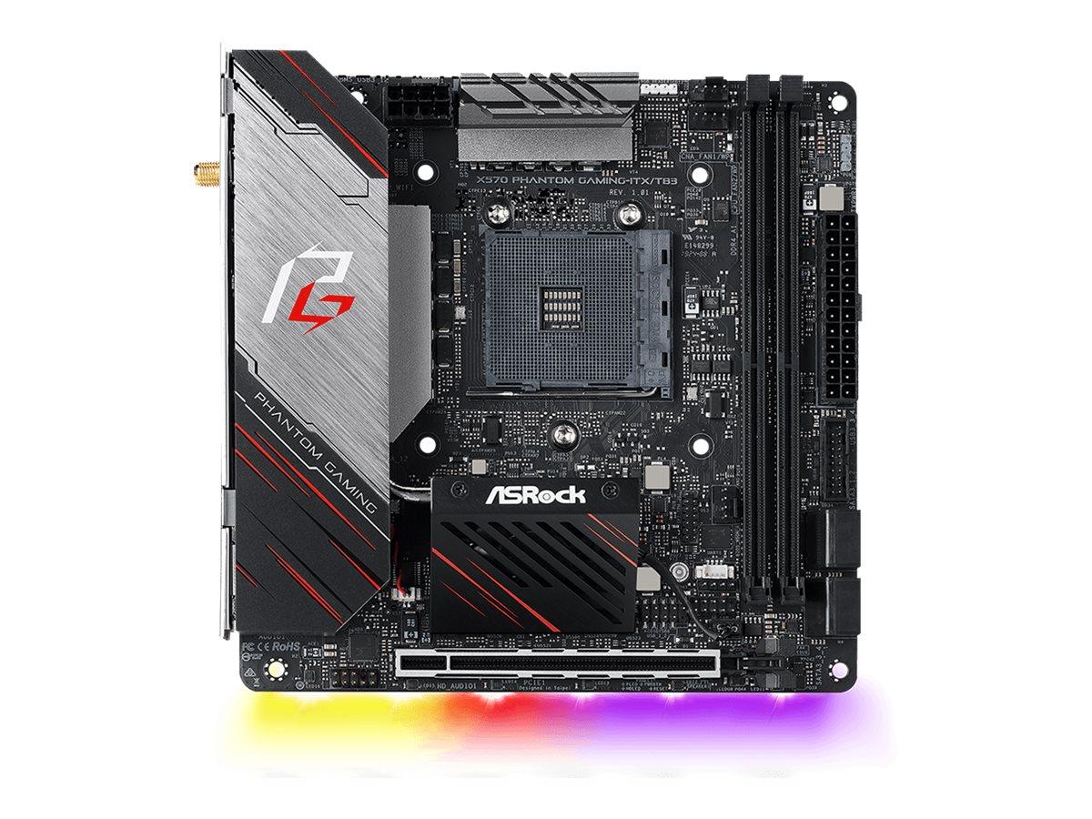 ASRock X570 Phantom Gaming-ITX/TB3 - Motherboard - Mini-ITX - Socket AM4 - AMD X570 - USB-C Gen2, USB 3.2 Gen 1, USB 3.2 Gen 2 - Bluetooth, Gigabit LAN, Wi-Fi - Onboard-Grafik (CPU erforderlich)