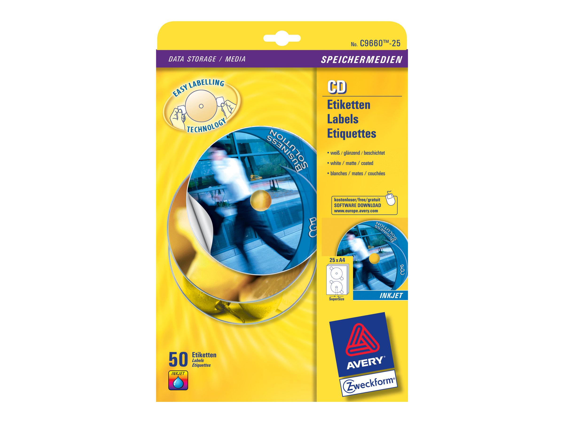 Avery Zweckform  Weiß, hochglänzend - 117 mm rund 50 Etikett(en) (25 Bogen x 2) CD/DVD-Etiketten