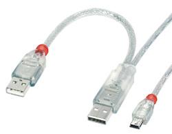 Lindy USB 2.0 Dual Power Y-Kabel Typ 2 x A Mini-B - Kabel