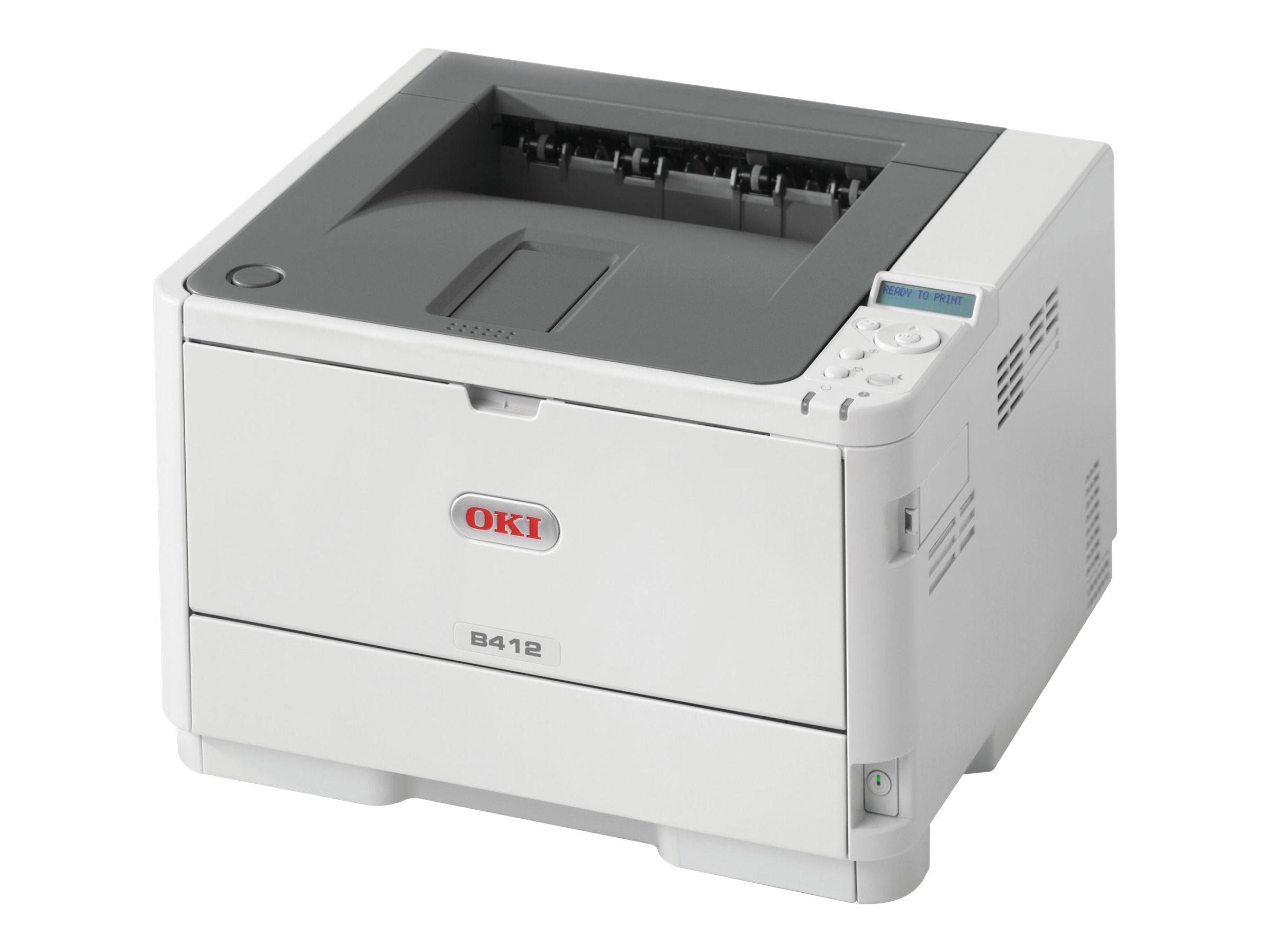 OKI B412dn - Drucker - monochrom - Duplex - LED A4/Legal - 1200 x 1200 dpi - bis zu 33 Seiten/Min. - Kapazität: 350 Blätter - USB 2.0 - Gigabit LAN