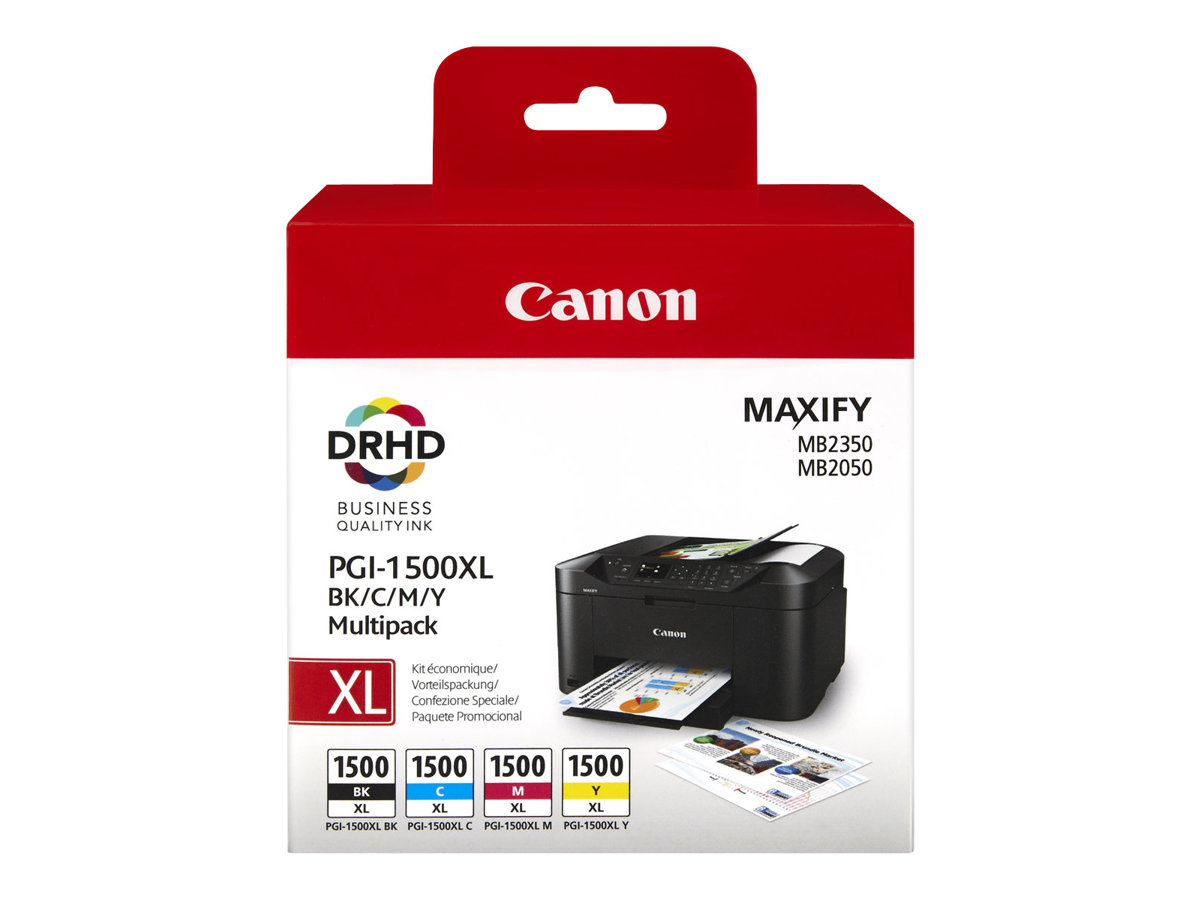 Canon Multipack cyan/magenta/yellow/black PGI1500 ca. 1.200 Seiten black und je ca. 900 Seiten cmy