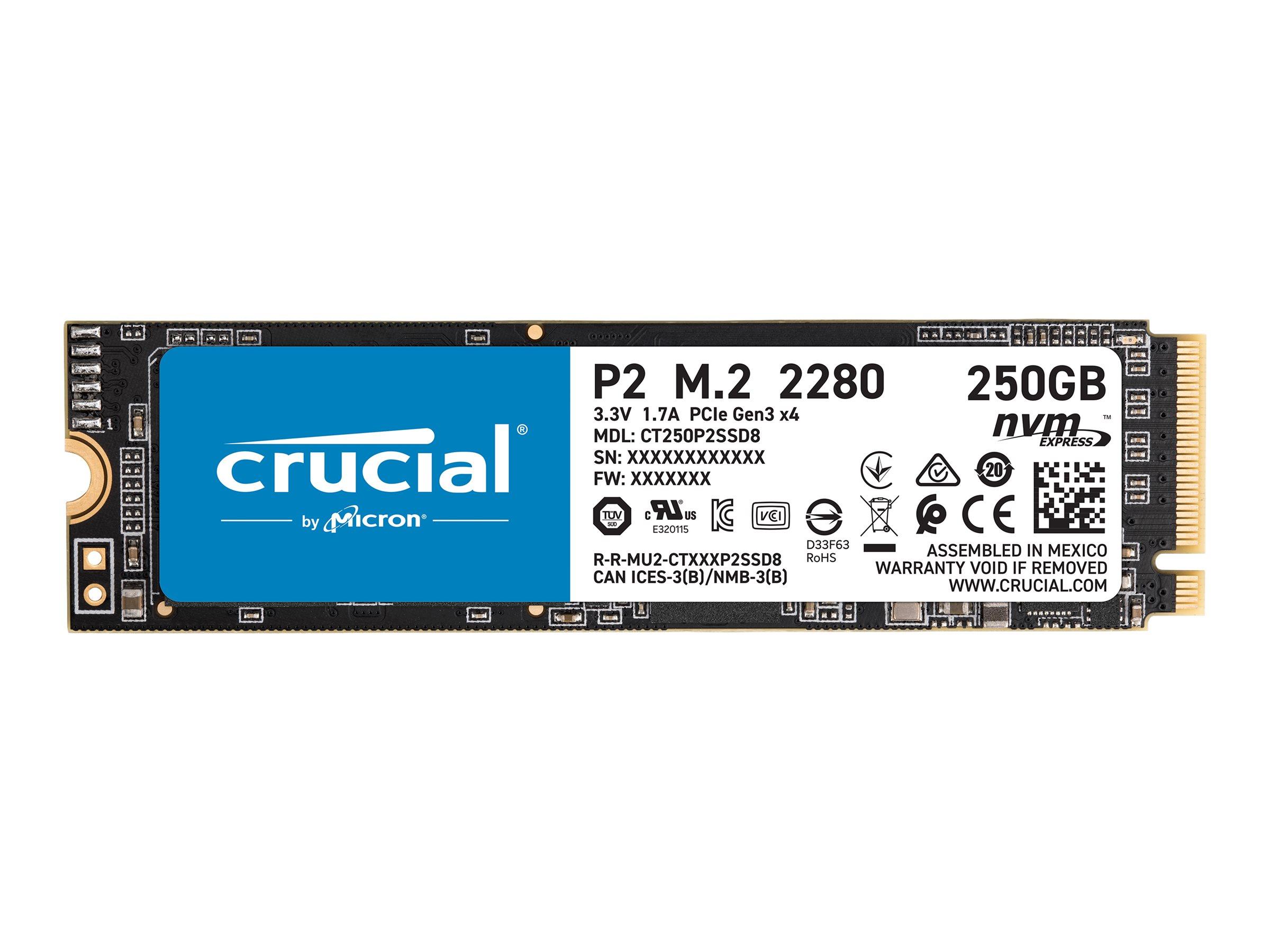 Vorschau: Crucial P2 - 250 GB SSD - intern - M.2 2280 - PCI Express 3.0 x4 (NVMe)