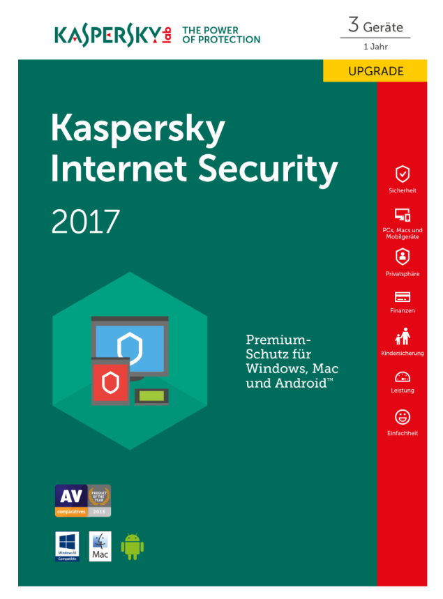 Kaspersky Internet Security 2017 - Box-Pack (Upgrade) (1 Jahr) - 3 Geräte