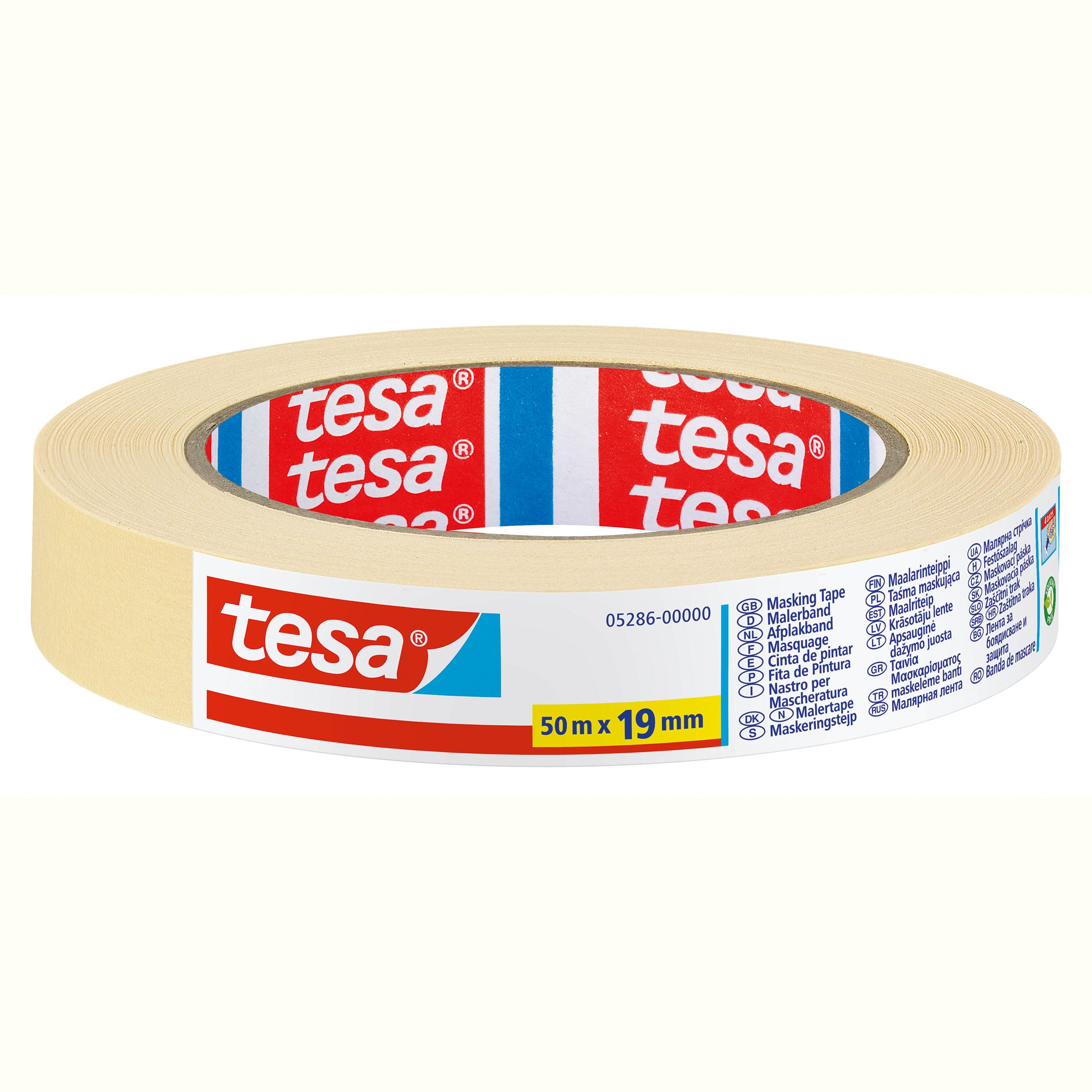 Tesa 05286 - Maler-Abdeckband - Papier - Beige - 4 Tag(e) - 50 m - 19 mm