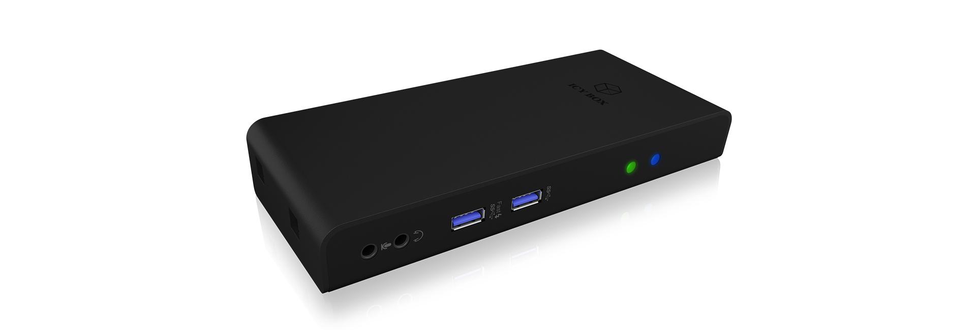 ICY BOX IB-DK2251AC - Verkabelt - 3,5 mm - 10,100,1000 Mbit/s - Schwarz - 5 Gbit/s - Full HD
