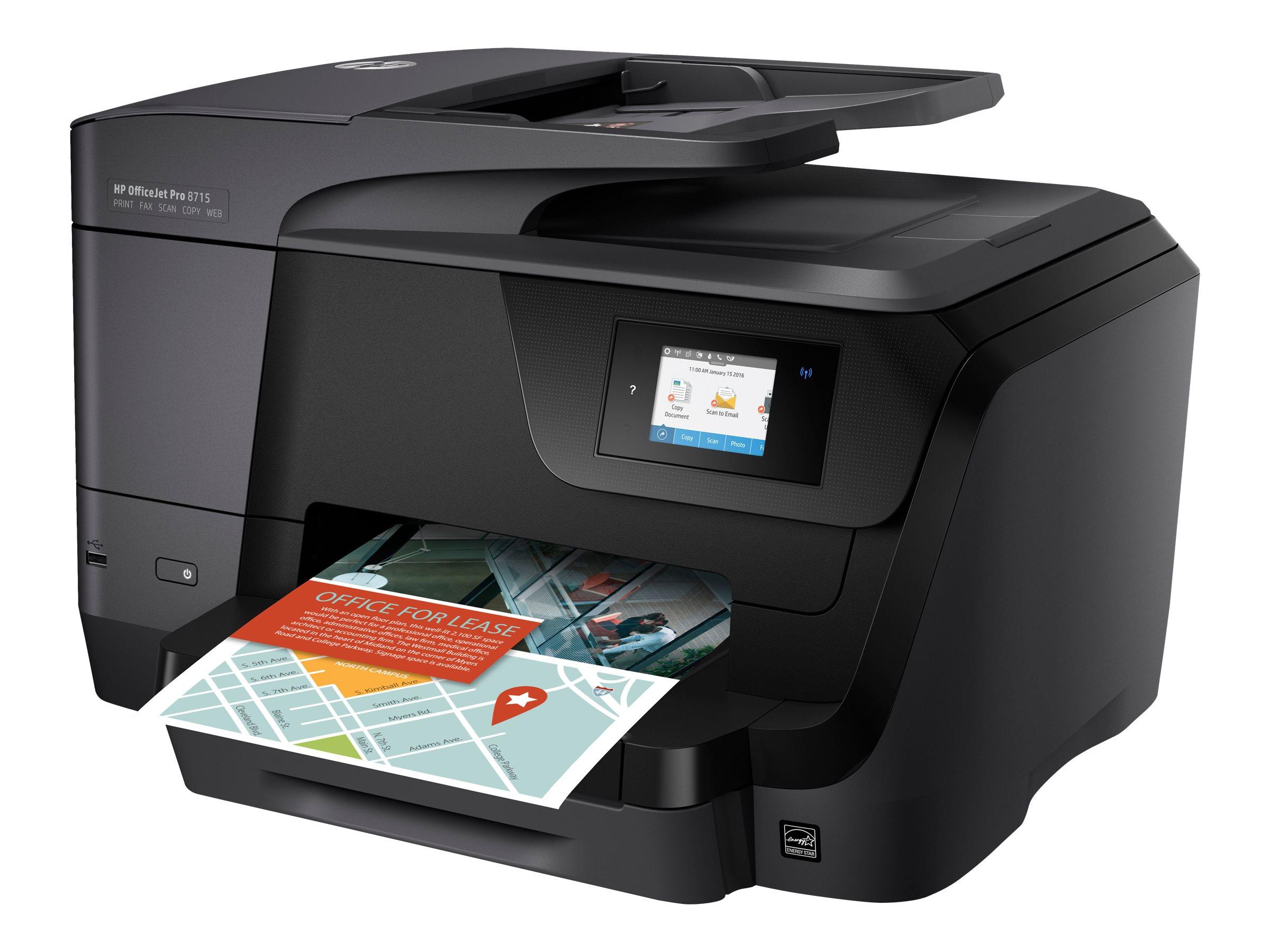 HP Officejet Pro 8715 All-in-One - Multifunktionsdrucker - Farbe - Tintenstrahl - bis zu 35 Seiten/Min. (Drucken) - 250 Blatt - USB 2.0 - LAN - Wi-Fi
