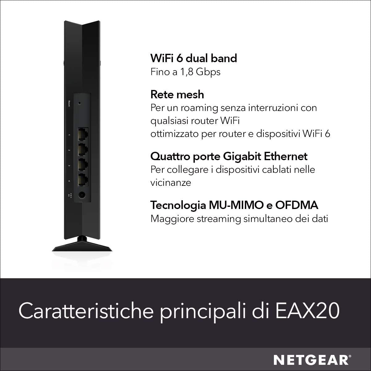 Netgear EAX20 - Wi-Fi-Range-Extender - 4 Anschlüsse