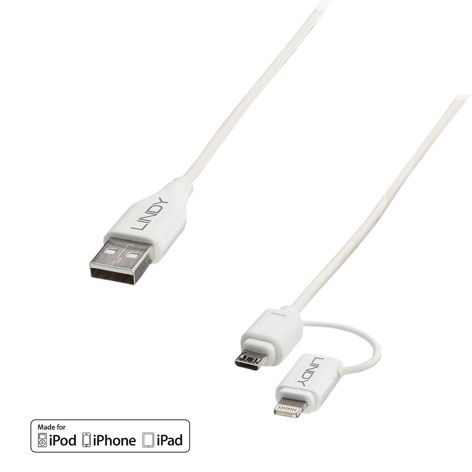 Lindy USB to Micro-B & Lightning Combo - Lade-/Datenkabel für iPad/iPhone/iPod/Handy/Webtablet - Lightning / USB