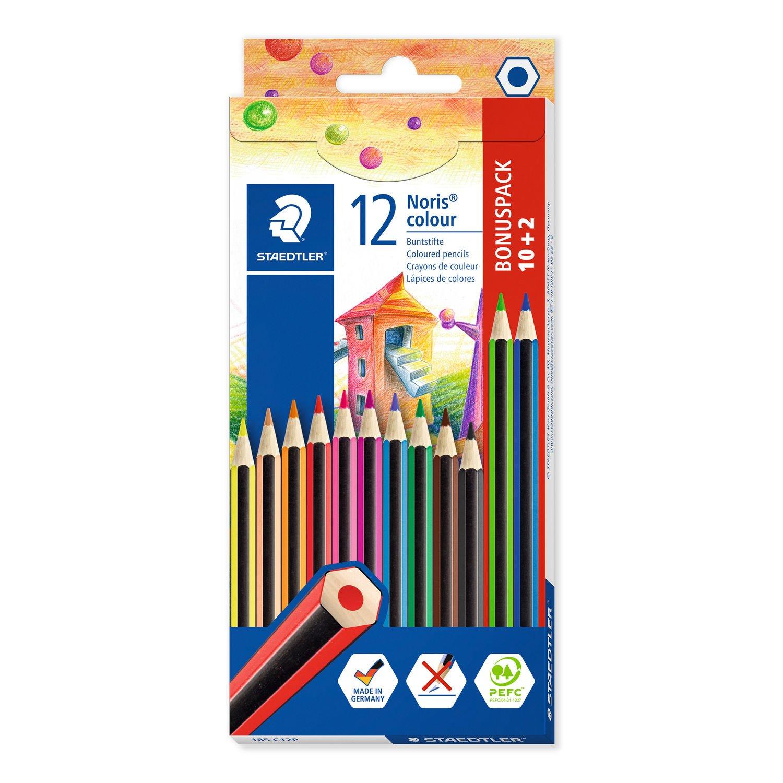 STAEDTLER Noris colour 185 - Schwarz - Blau - Braun - Grün - Magenta - Orange - Pfirsich - Violett - Rot - Gelb - 12 Stück(e)