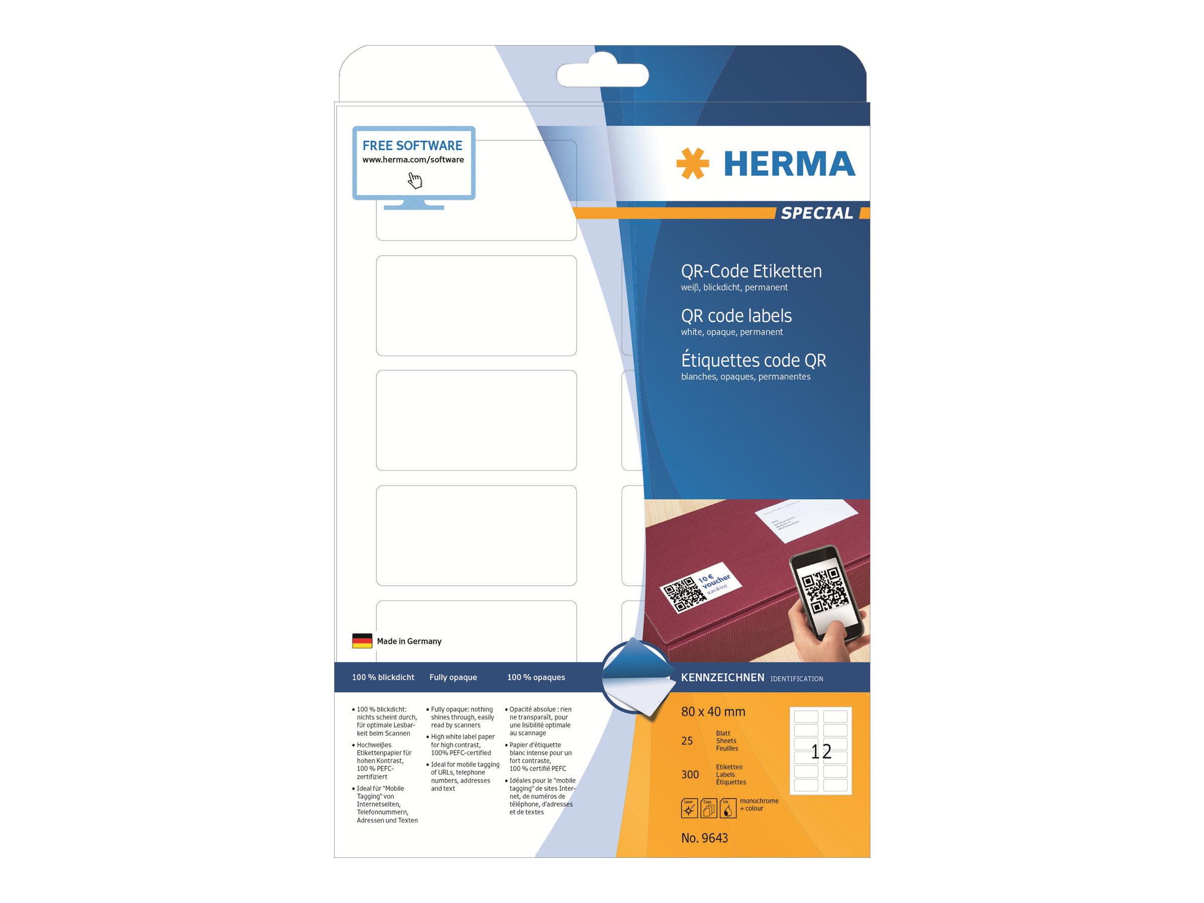 HERMA Special - Papier - matt - permanent selbstklebend - weiß - 80 x 40 mm 300 Etikett(en) (25 Bogen x 12)