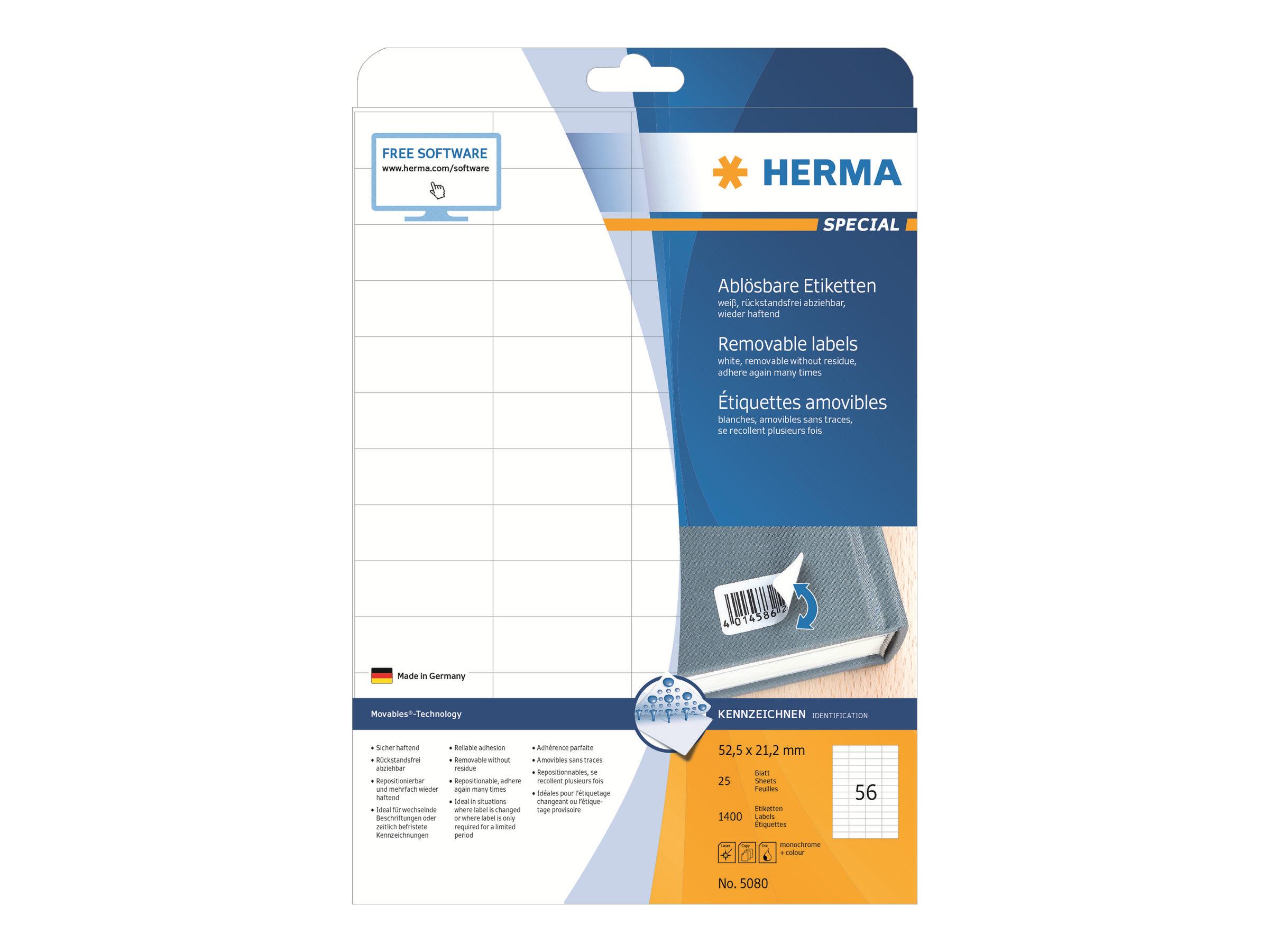 HERMA Special - Papier - matt - selbstklebend, entfernbarer Klebstoff - weiß - 52.5 x 21.2 mm 1400 Etikett(en) (25 Bogen x 56)